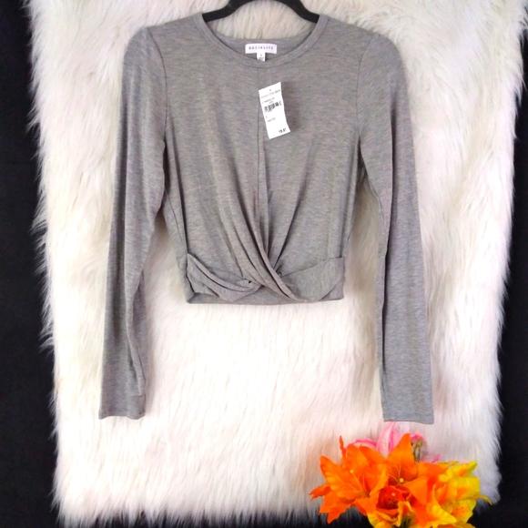 Socialite Gray Long Sleeve Crop Top Size S